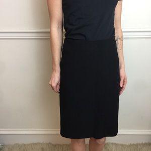 MaxMara Black Wool Straight Midi Simple Skirt